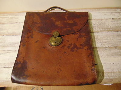 LOVELY THICK LEATHER ANTIQUE ATACHE BRIEFCASE WITH CHUBB & SON PATENT LOCK c1870