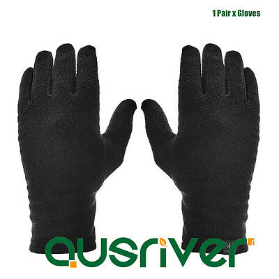 Outdoor Sports Men's Women's Black Fleece Winter Warm Gloves Unisex