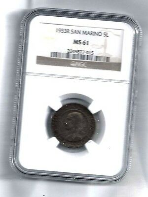 San Marino Silver Coin 5 Lire  1933 R NGC MS61 Italy