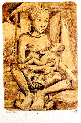 African Painting Etching Limited Edition 'Mother Child'  by Robinson Ntila - New