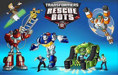 TRANSFORMERS RESCUE BOTS Edible A4 Size Kids Birthday Cake Icing Sheet Topper