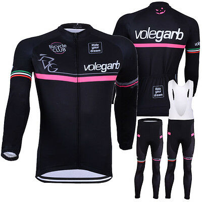 Unisex Cycling Long Sleeve Jersey Cycling Jersey Bib Pants Sets Bicycle Clothes
