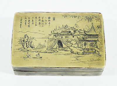 Antique Chinese Box Inkstone & Poem And Figures Landscape Scene