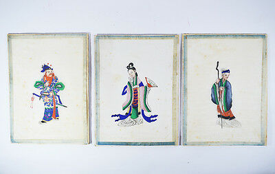26x19.5 cm ANTIQUE CHINESE PITH RICE PAPER PAINTING MANDARIN COURT 19TH CENTURY