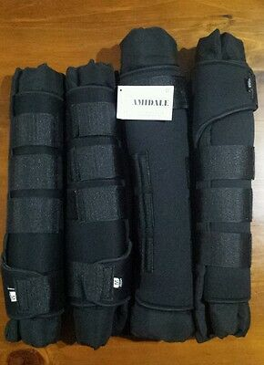 Horse boots/stable wraps by Amidale. Set of four. Black. Size Medium / Cob