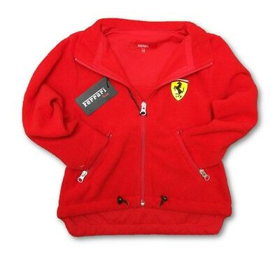 FLEECE Ferrari Scudetto Zip Front Jacket F1 Team Kids NEW! Childrens Red