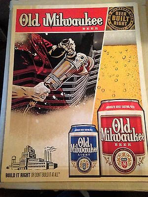 "Old Milwaukee Beer Posters - ""Beer Built Right"" - Man Cave - shipping discount"