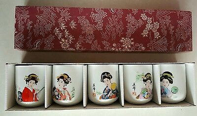 Japanese Geisha Girl Sake/Tea Cups Set