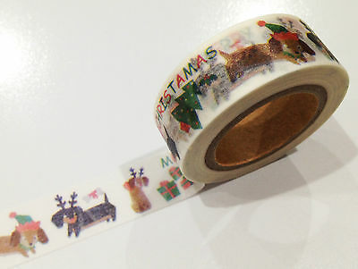 1PC NEW Japanese Washi Tape Craft Sticker, Christmas Sausage Dog Dachshund Puppy