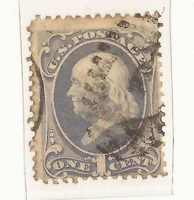 1870C  United States 1 Cent Stamp Franklin  Used. #a