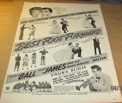 Movie Ad---BEST FOOT FORWARD---<1943>---LUCILLE BALL--HARRY JAMES