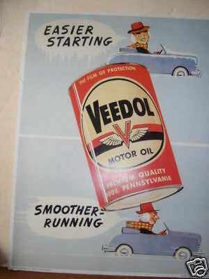 1950's Veedol Oil Car Blue Cardboard Window Sign