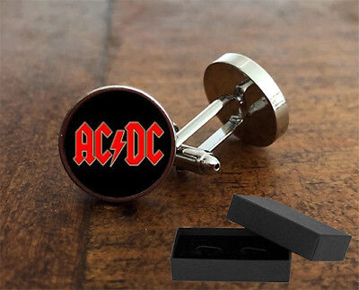 Ac⚡️dc - Cufflinks - 3D Glass Lens Front - Rock Band - Mens Novelty Gift