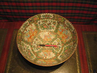 Large Canton Chinese Quality Porcelain Bowl With Figures Taking Tea  /3908
