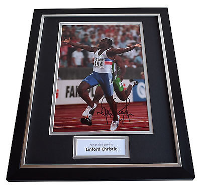 Linford Christie SIGNED FRAMED Photo Autograph 16x12 display Olympics AFTAL COA