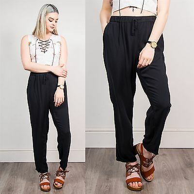 Retro Plain Black Womens Baggy Summer Trousers Loose Pants Hippie Holiday  18