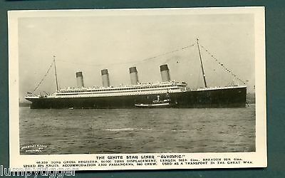 WHITE STAR LINER OLYMPIC WITH TUG ALONG SIDE,vintage postcard