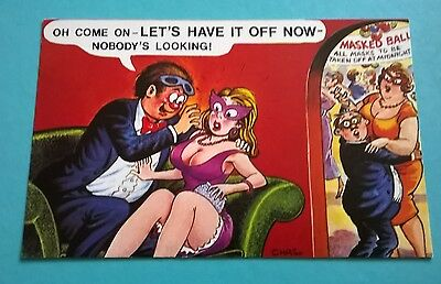 Bamforth Post Card Seaside Saucy Comic Series Black Triangle Chas 452 Unposted