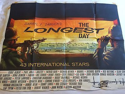THE LONGEST DAY - British Quad Poster - UK - John Wayne - Sean Connery - D-Day