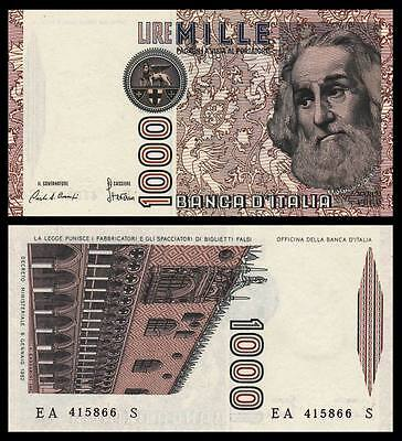 Italy 1,000 Lire 1982  P-109a  UNC CURRENCY BANKNOTE PAPER MONEY <Marco · Polo