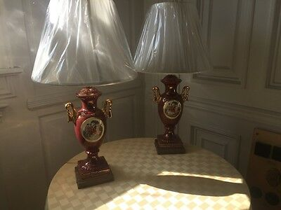 Pair of Old English Porcelain Lamps (Base Only)