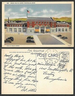 Old Idaho Railroad Postcard - Pocatello - Union Pacific Depot, Military