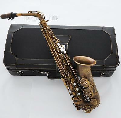 Professional Retro Brass Alto Saxophone 875 Model E-Flat Sax High F# With Case
