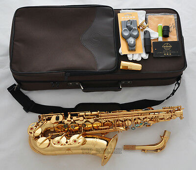 Professional Gold New TAISHAN Eb Alto Saxophone High F# Sax Abalone Shell +Case