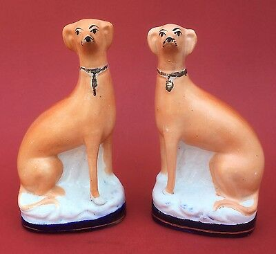 PAIR of ANTIQUE STAFFORDSHIRE POTTERY blue base GREYHOUNDS circa 1880
