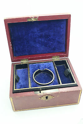 Antique Victorian travel jewellery box with inlay place for pocketwatch