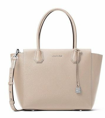 MICHAEL KORS Studio Leather Mercer Large Satchel Tote Cement Beige Grey