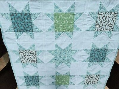 Patchwork Quilt, Handmade Cot or Lap sized Nursery Baby Bed,  rabbit , hare