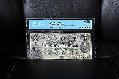 1861 The Westmorland Bank of New Brunswick $5 Banknote CCCS Graded VF-30