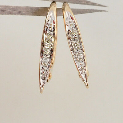 14k Solid Yellow Gold Diamond Leverback Earwires