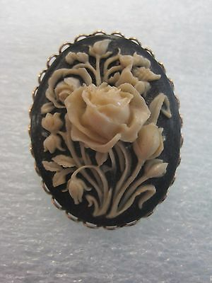 Beautiful Vintage Ivory on Black Resin Floral Cameo Brooch