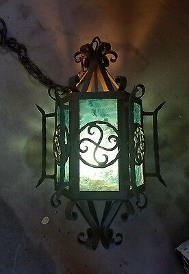 Huge Antique Wrought Cast Iron Blue Glass  Lantern Chandelier Impressive 25.5""