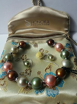 Honora Round Large Pearl Cuff Bracelet And Earrings.