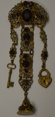Antique Signed Czecho Bohemian Chatelaine Brooch Enamel Fob Lock & Key