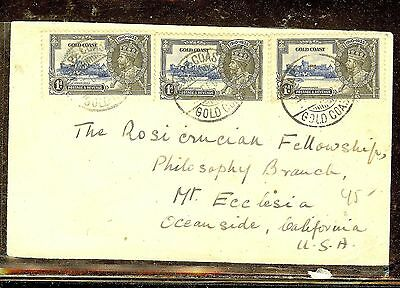 Gold Coast (P2110B) Silver Jubilee 1Dx3 On Cover To Usa
