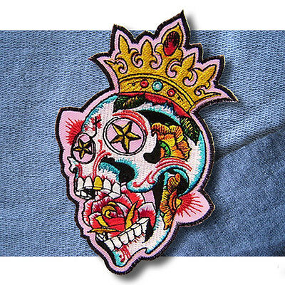Skull Crown Embroidered Applique Badge Sew On Iron On Patch Dress Clothes Craft