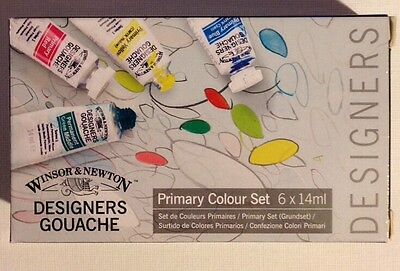 WINSOR & NEWTON GOUACHE Primary Colour 6 X 14ml - NEW!! Free First Class In U.S.