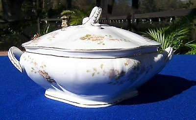 Antique LS & S Carlsbad Austria Fine China Covered  Serving Bowl