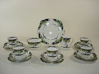 Standard China Deco Tea Set for Five with Cake Plate, Sugar Bowl and Milk Jug