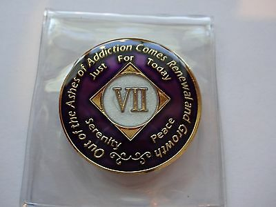 NA Purple Ivory Coin 7 Year Tri-Plate Narcotics Anonymous Medallion +Case&Stand