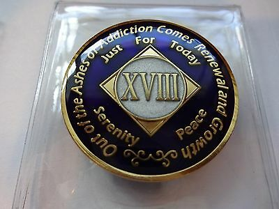 NA Purple Ivory Coin 18 Year Tri-Plate Narcotics Anonymous Medallion +Case&Stand