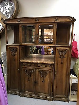 Circa 1900 French Walnut & Marble Hand Carved Art Nouveau Sideboard Buffet
