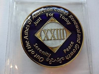 NA Purple Ivory Coin 23 Year Tri-Plate Narcotics Anonymous Medallion +Case&Stand