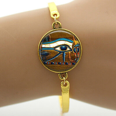 Eye of Horus Egyptian Symbol Charm Bangle Bracelet Spiritual Fashion Adjustable