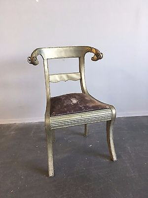 Vintage Unique Brass Ram's Head Metal Wrapped Regency Style Chair Empire