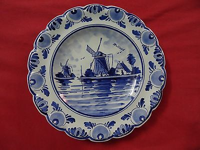 Holland delft hand painted plate  vtg blue and white plate Windmill Hanging Wall